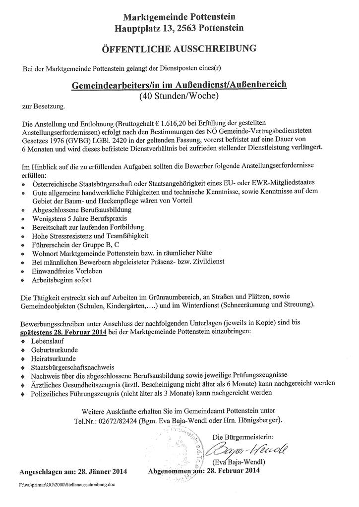 Ausschreibung - Gemeindearbeiter/in im Aussendienstbereich ...